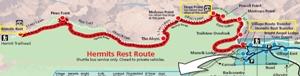 赤いラインはHermits Rest Route